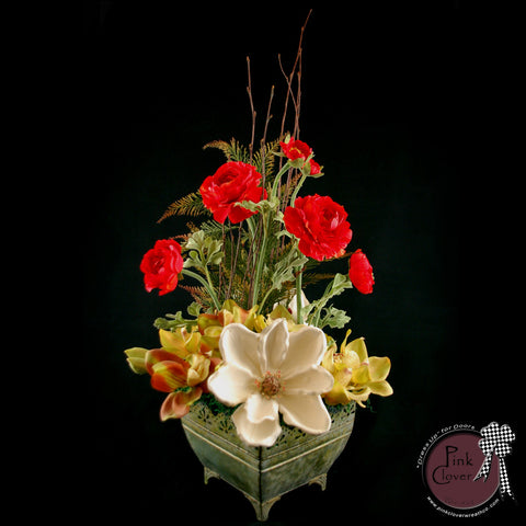 Fall-Winter-Christmas-Arrangement-Red Ranunculus-White Magnolia-Green Orchids