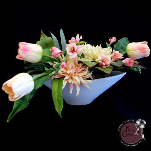 Pink-White-Floral Arrangement-Pink and White Tulips-Pink and White Dahlias-Spring Floral Arrangement-Summer Floral Arrangement