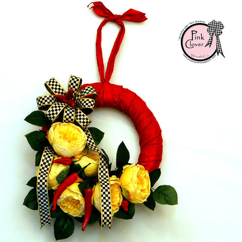MacKenzie-Childs Courtly Check-Front Door Wreath-Kitchen Wreath-Red Satin Ribbon-Yellow English Roses-Red Chili Peppers