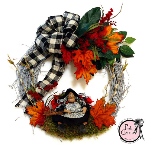 Halloween Witch Wreath-Broom Hilda-Witch-Front Door Wreath-Halloween-Grapevine Wreath