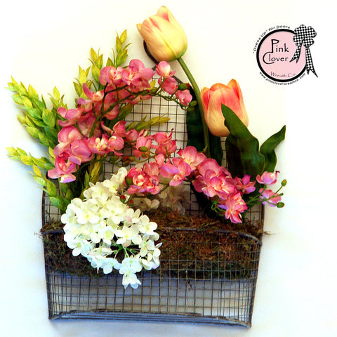 Wire Basket-Front Door Wreath-Pink Tulips-Pink Orchids-White Hydrangeas-Spring Wreath-Wreath