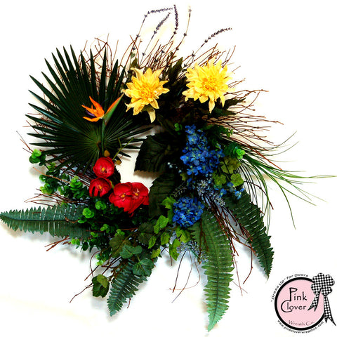 Front Door Wreath-Tropical Bird of Paradise-Yellow Dahlias-Fan Palms-Grapevine Wreath-Tropical Wreath-Spring Wreath-Summer Wreath