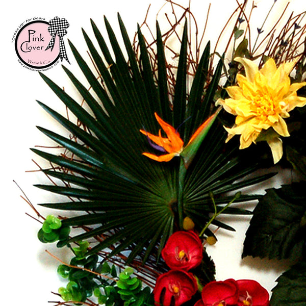 Tropical Front Door Wreath-Bird of Paradise-Yellow Dahlias-Pink Orchids-Tropical Wreath-Grapevine Wreath-Summer Wreath-Spring Wreath