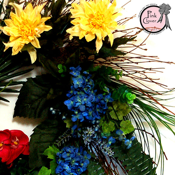 Yellow Dahlias-Blue Hydrangeas-Pink Orchids-Fern Leaves-Grapevine Wreath-Front Door Wreath