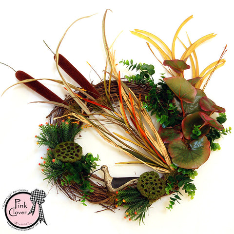 Coastal Front Door Wreath-Front Door Wreath-Cattails-Shorebird-Summer Wreath