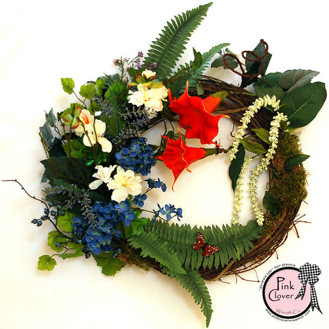 colorful spring grapevine wreath-front door wreath-spring wreath-summer wreath-grapevine wreath