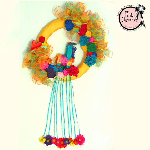 Fiesta Pinata Wreath-Yellow-Felt Flowers-Donkey Pinata-Fiesta-Cinco De Mayo-Mexican Themed Party-Front Door Wreath-Spring Wreath-Summer Wreath