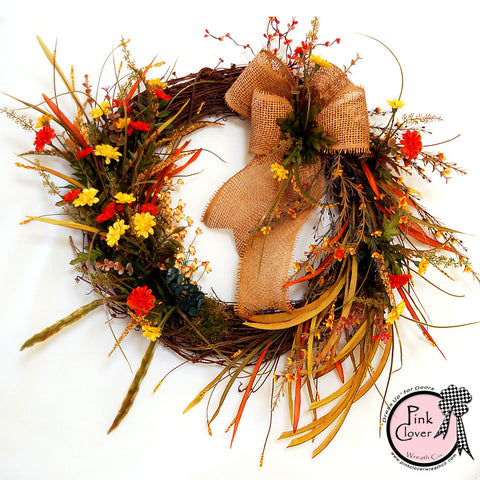 Front Door Wreath-Burlap Bow-Wild Flowers-Yellow-Orange-Grapevine Wreath