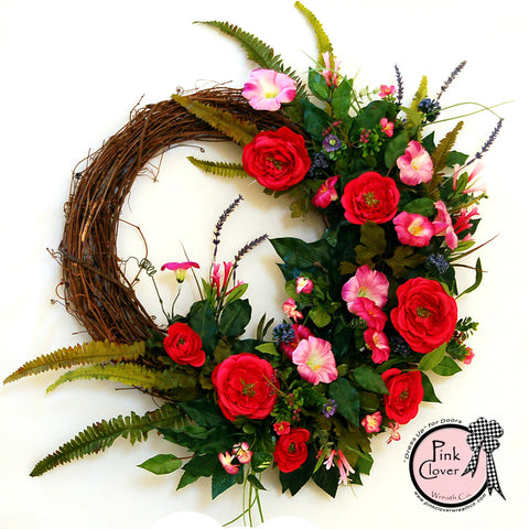 Petunias Grapevine Wreath-Pink Petunias-Pink Ranunculus-Front  Door Wreath-Spring Wreath-Summer Wreath