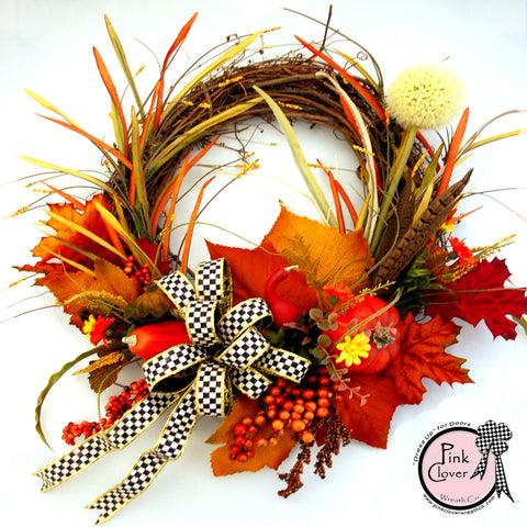 Fall MacKenzie-Childs Grapevine Wreath-Front Door Wreath-Courtly Check Ribbon-Grapevine Wreath-Fall Season