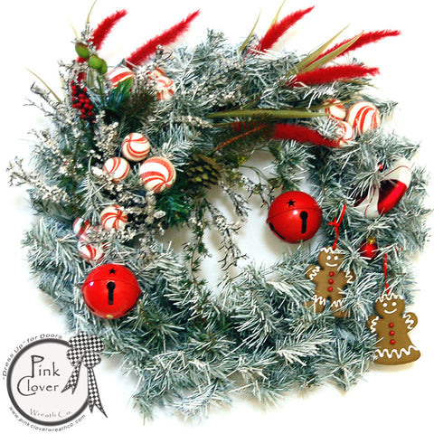 Jingle Bells-Gingerbread-Christmas Wreath-Red Jingle Bells-Peppermint Ornaments-Front Door Christmas Wreath-Christmas Wreath-Holiday Season