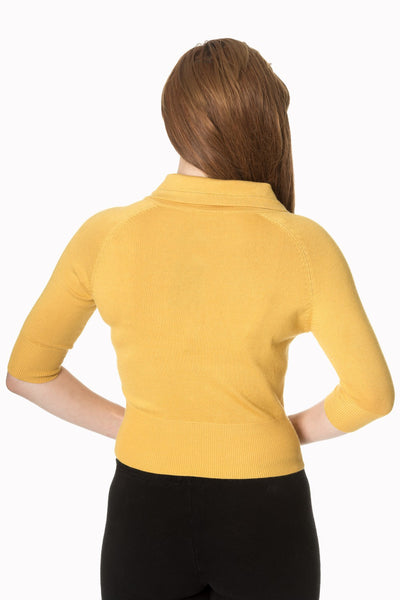 Cardigan April jaune moutarde - derriere