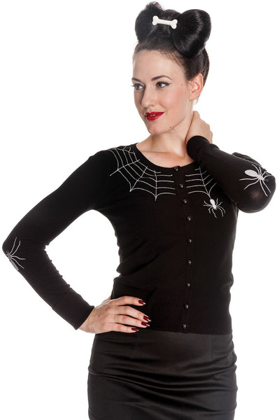 Cardigan spiderweb noir