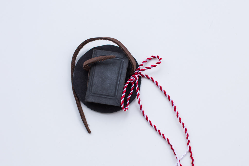 Leather book brooch