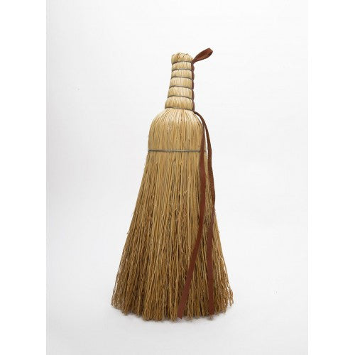 Round Broom with Leather and Wire