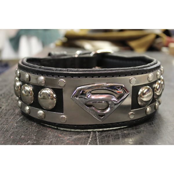 Leather  Superman Dog Collar | With Stainless Steel Hardware | Oli Collars