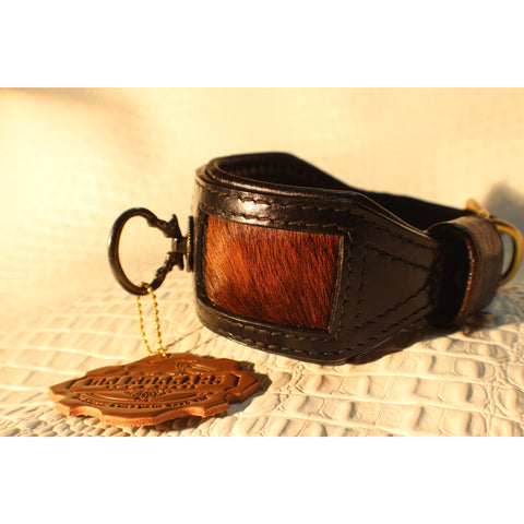 Black Leather with Cow Hair Inlay Sighthound Dog Collar - Oli Collars