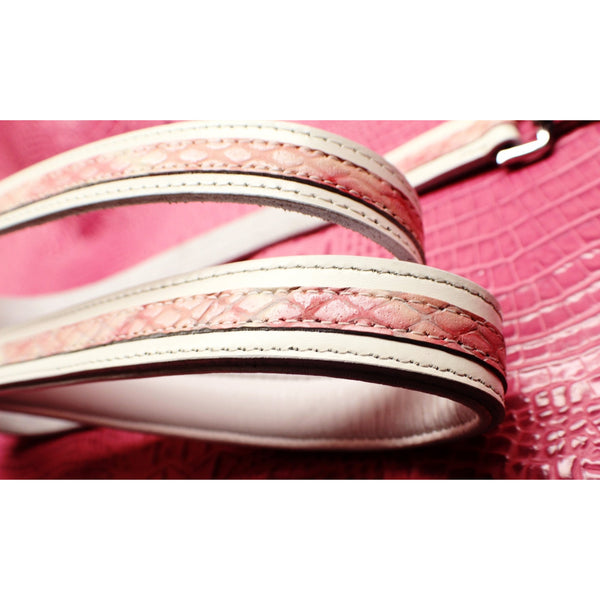 Designer Leather Leash | White with Pink (OLI COLLARS)