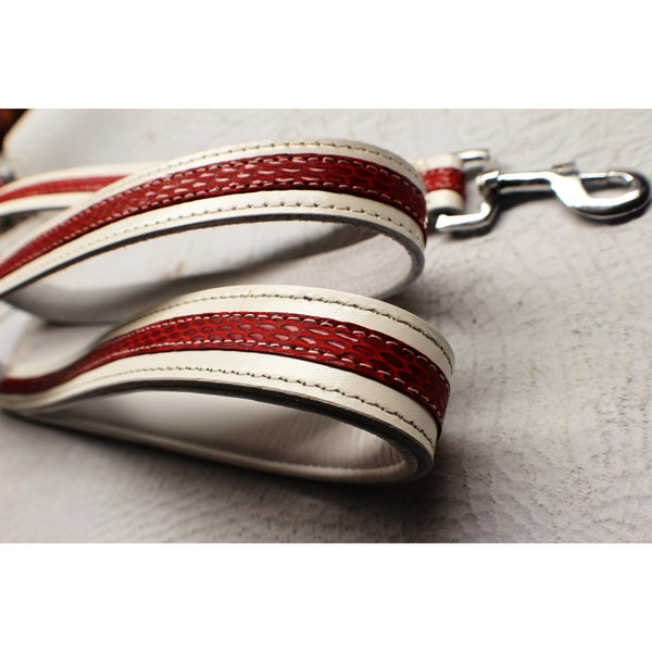 White and Red Designer Leash