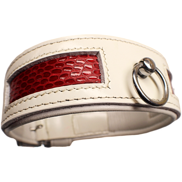 Red and Whte Designer Dog collar (OLI COLLARS)
