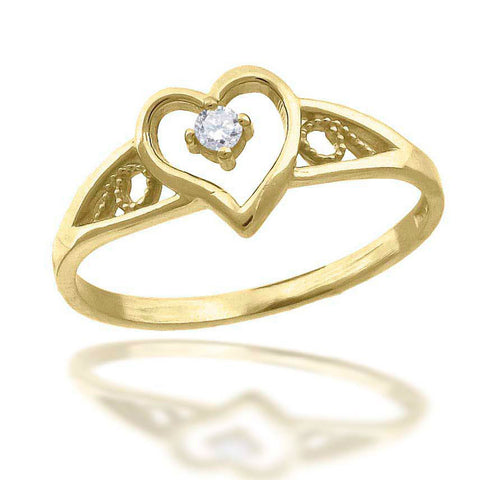 10KT Gold CZ Heart Ring