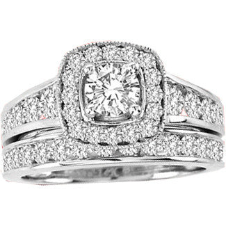 14K 0.33CT Diamond Wedding Ring Set