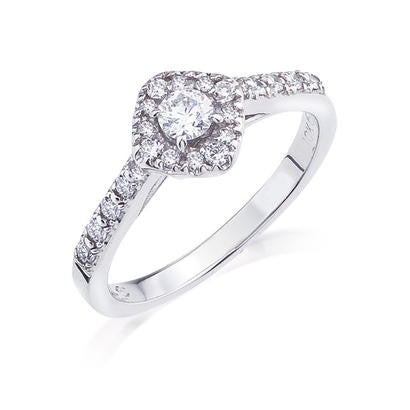 10K White Gold .42CT TWT .16CT Center Diamond Ring