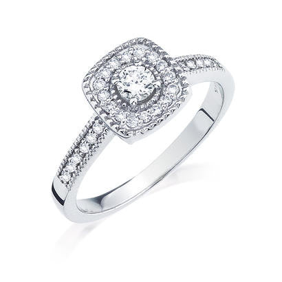 10K White Gold .36CT TWT .16CT Center Diamond Ring