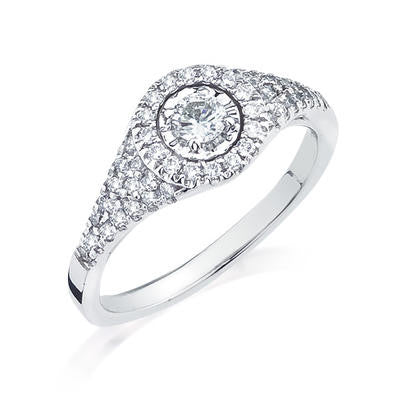 10K White Gold .49TWT  .17CT Center Diamond Ring