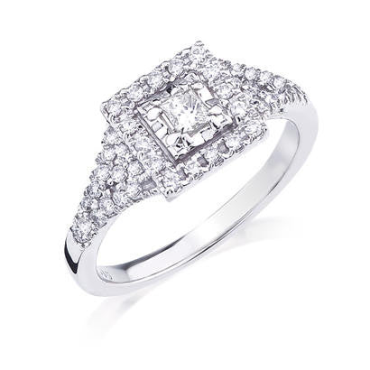 10K White Gold .46CT TWT .17CT Center Diamond Ring