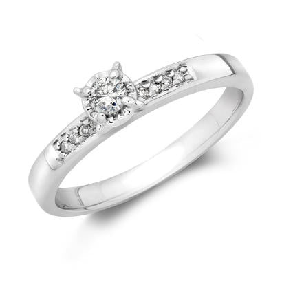 10K White Gold .13CT TWT .09CT Center Diamond EngagementRing