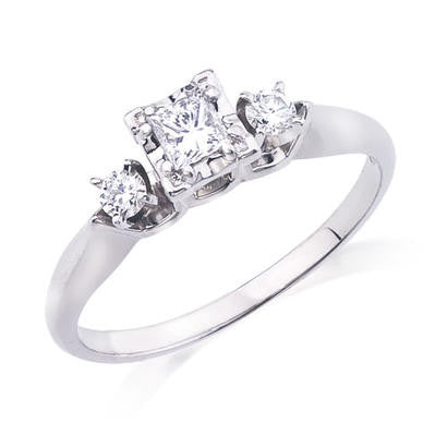 10K White Gold .32CT TWT .20CT Center Diamond Ring