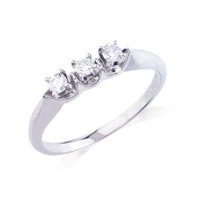 10K White Gold .18CT TWT Ladies Diamond Ring