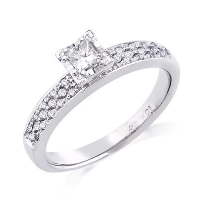 10K White Gold .39CT TWT .18CT Center Diamond Ring