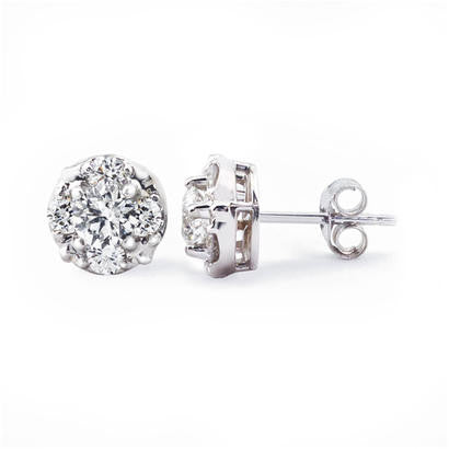 14K White Gold 1.00CT TWT  Diamond Fashion Earrings