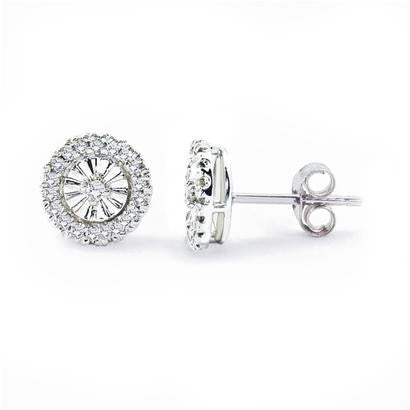 14K White Gold .20CT TWT Diamond Fashion Earrings