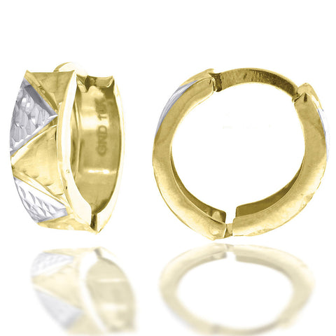 10KT Gold D/C Two-Tone Huggies Earring