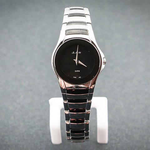 St.Andre Stainless Steel Round Black Face Ladies Watch