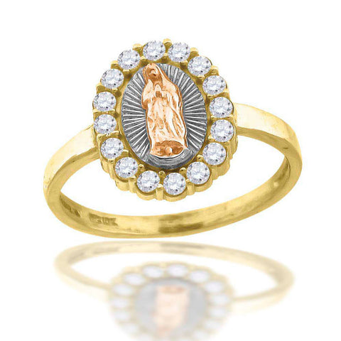 10KT Gold CZ Religious Ring