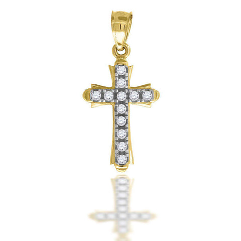 10KT Gold CZ Cross Pendant