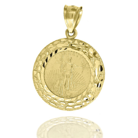 10KT Gold Liberty Coin Pendant