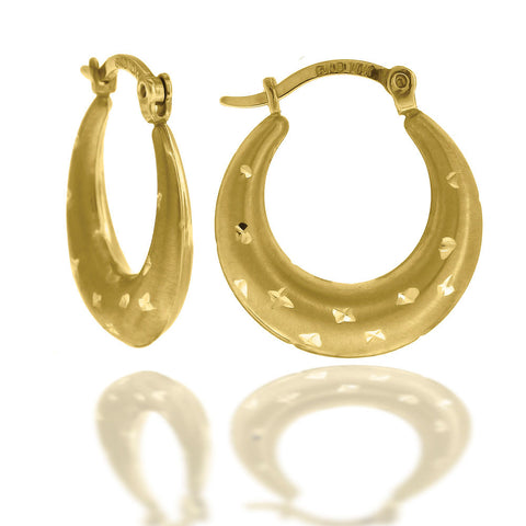 10KT Gold Fashion D/C Hoops Earring