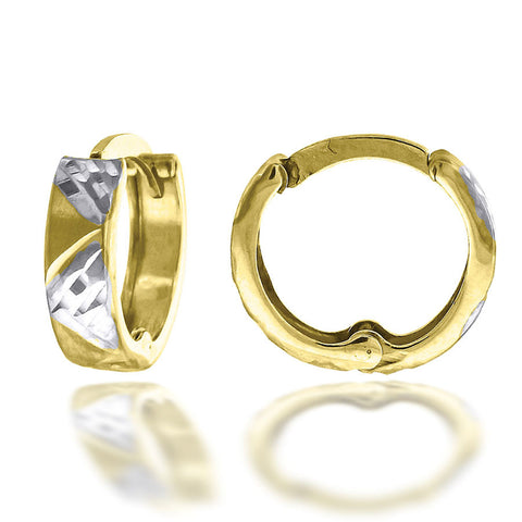 10KT Gold D/C Two-Tone Hoops Earring