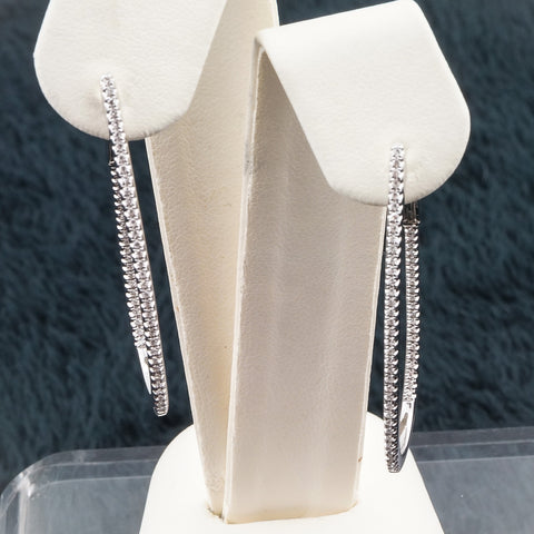 14K White 5.55, 114 RD .39 40PT TW Diamond Earrings
