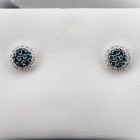 14K White Gold .33CT Blue Diamond,Diamond Earrings