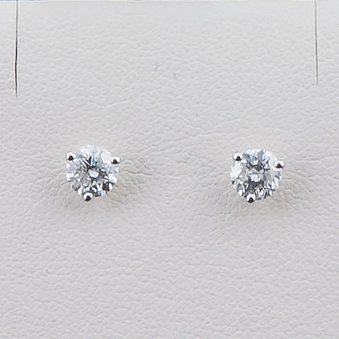 14K White Gold .75CT TWT  Diamond Earrings
