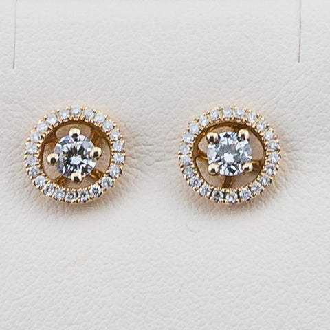 14K Yellow Gold .30CT TWT  Diamond Earrings Jackets