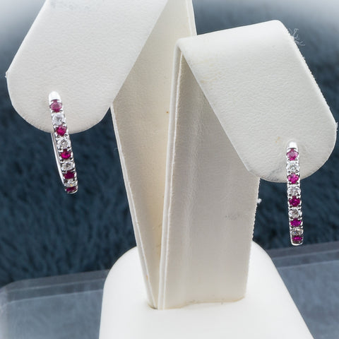 10K 0.23CT White Gold Ruby/Diamond Earrings