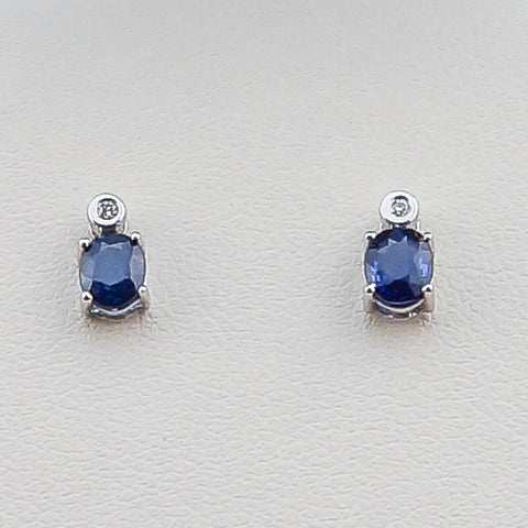 14KW .02CT Diamond .81 Sapphire Earrings