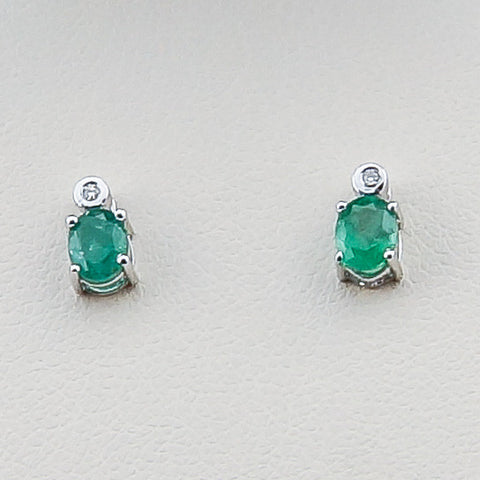14KW .02CT Diamond .69 Emerald Earrings